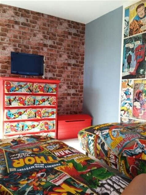 marvel heroes bedroom ideas boys fake brick and fake brick walls on pinterest
