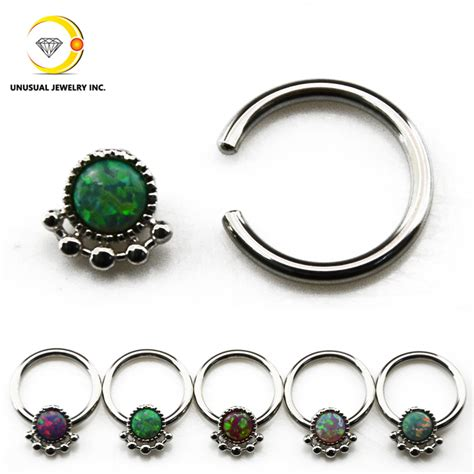 captive bead nose ring opal nose ring septum clicker earring captive bead ring
