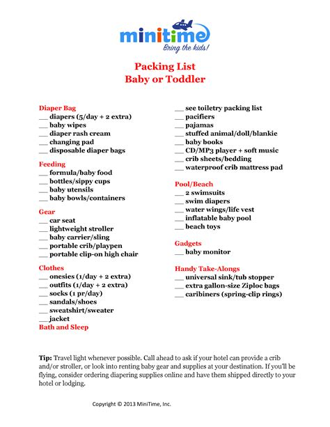 printable toddler packing list what to pack for a baby or toddler free printable