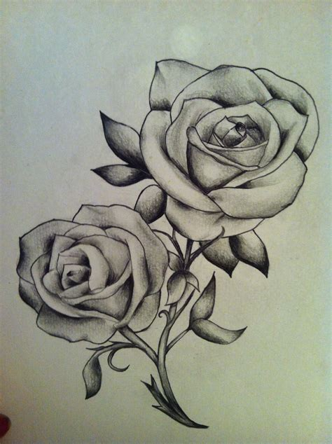 classic rose tattoos roses black and white sketch drawing classic