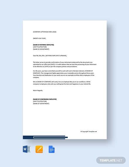 confirmation retirement letter employee