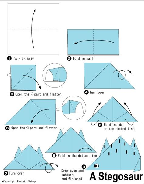 Origami Dinosaur Diagram - 1000 images about origami on planes for