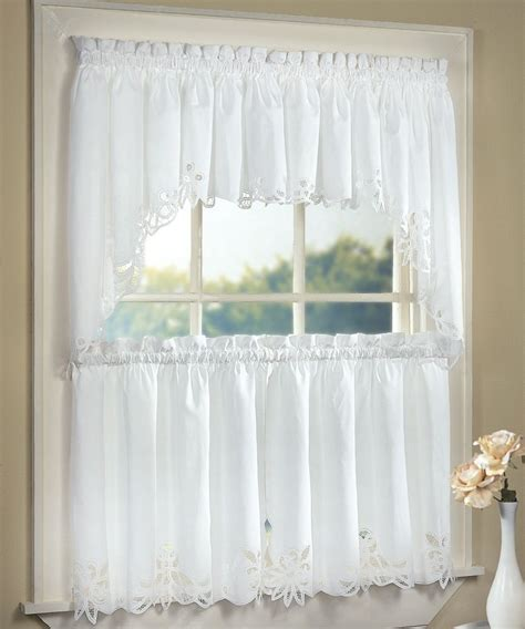 lace kitchen curtains battenburg lace cotton kitchen curtain white tiers swags valances new ebay