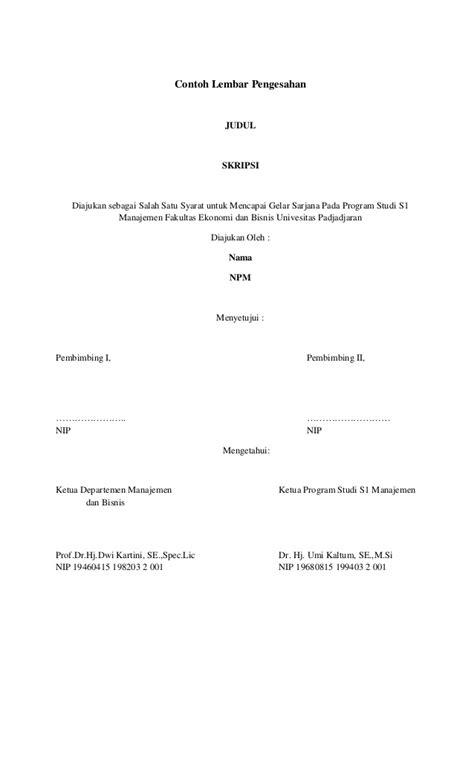 syarat untuk membuat judul skripsi contoh lembar pengesahan dan cover skripsi
