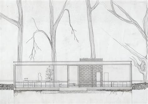 glass house section philip johnson elevation section on behance