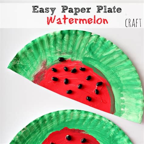 Easy Paper Plate Crafts - easy and simple paper plate watermelon craft project