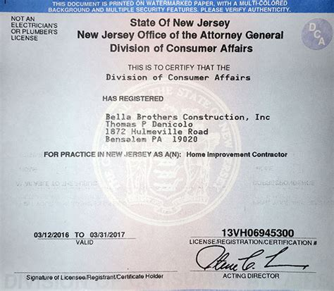 new jersey home improvement contractor license 28 images