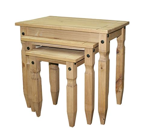nest of tables corona chunky waxed pine solid wood