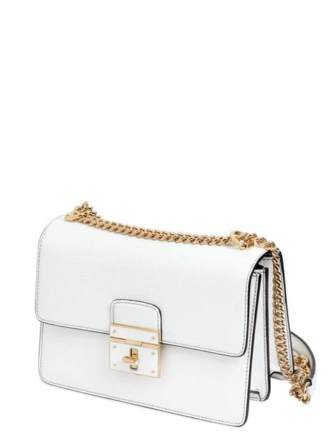 Dolce And Gabbana White Open Leather Bag by Dolce Gabbana Rosalia Grained Leather Shoulder Bag In
