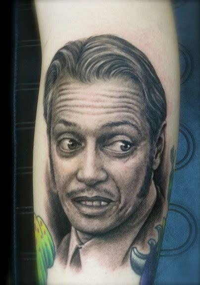 steve buscemi tattoo realistic black and gray portrait of steve buscemi