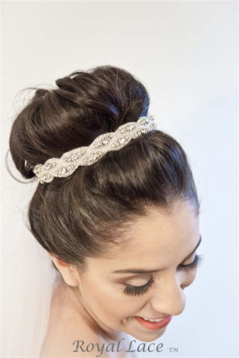 Hairstyle Bun Accessories by Wedding Headband Wedding Hair Accessory Crystals