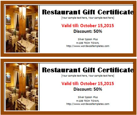 restaurant gift certificate template   word & excel templates