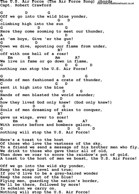 song lyrics of song lyrics with guitar chords for the u s air