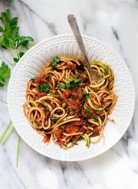 vegan spaghetti alla puttanesca cookie  kate