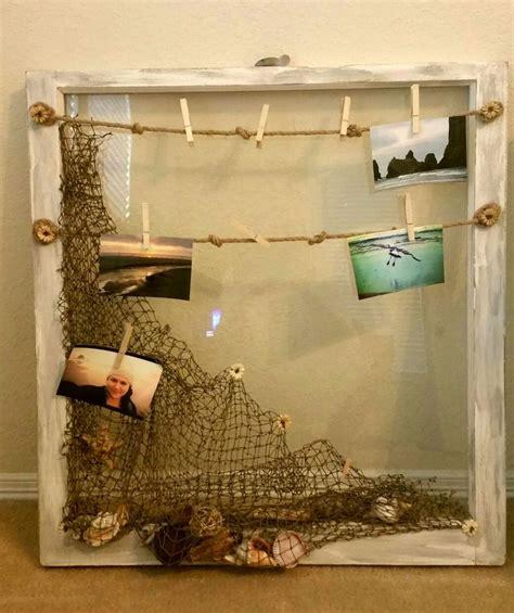 shabby beach themed  barn glass window pane nautical theme net  sea shell decor