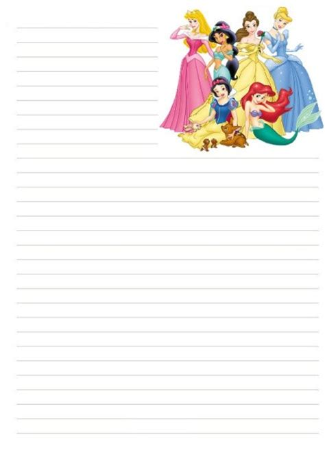 princess writing paper disney stationary