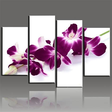 Dekorasi Dinding Abstract Painting 4in1 4 modern abstract painted flower orchid