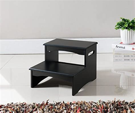 white step stool for bedroom kings brand furniture black finish wood bedroom step stool