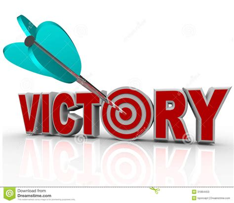 4 Letter Words Victory victory arrow in word succeed triumph in competition stock