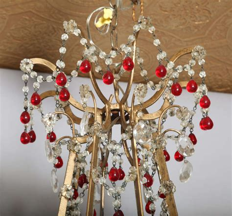 Ruby Chandelier Eight Arm Italian Chandelier With Ruby Crystals At 1stdibs