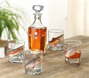 fly fishing home decor fly fishing decanter and glass set 5 pcs