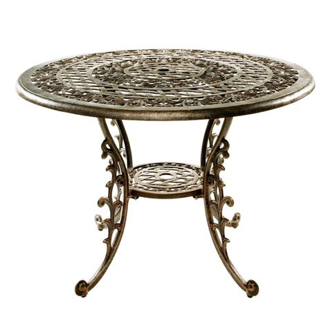 Oakland Living Mississippi Antique Bronze Patio Dining Patio Table Home Depot