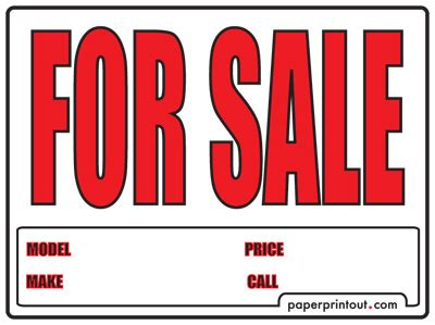 Free Car For Sale Sign To Print Online Car For Sale Sign Template