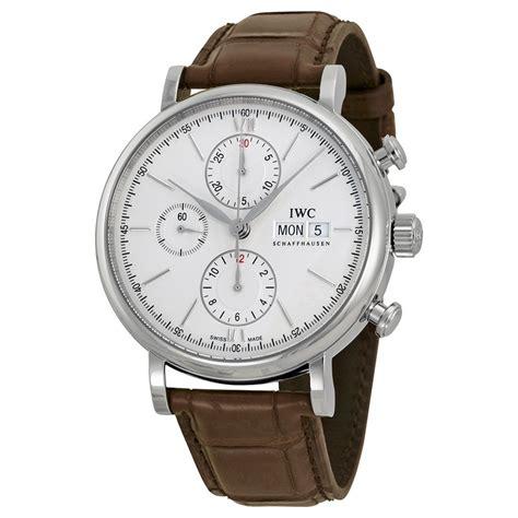 Iwc Schaff Hausen Portofino iwc portofino silver chronograph brown leather s