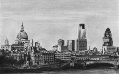 Cityscape Curtains London Skyline Pencil Drawing Drawing By David Rives
