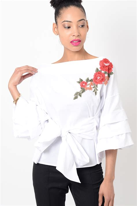 Embroidery White Tops stylish white embroidered ruffle sleeve top stylish tops
