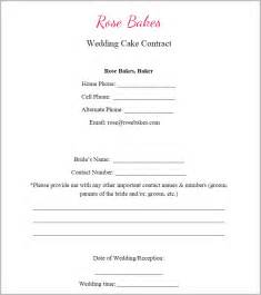 Printable Sample Non Disclosure generic blank wedding cake contract