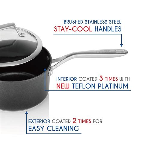 Teflon Pan techef onyx collection nonstick cookware set
