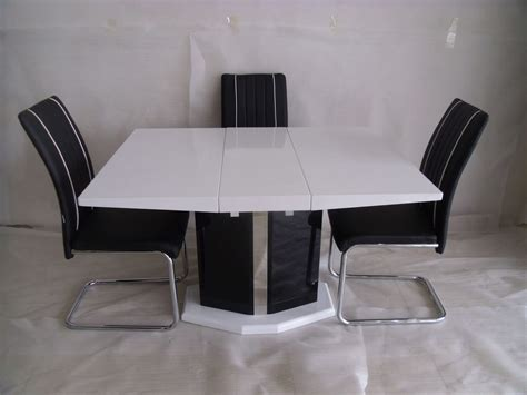 White Gloss Extending Dining Table And Chairs Extending Central Part White Dining Table And 4 Chairs Modern Desig Modernique