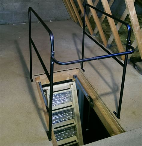 the versarail surrounds the ladder opening with a safety railing that becomes dual grab bars at the metal loft surround rail balustrade hulley ladders