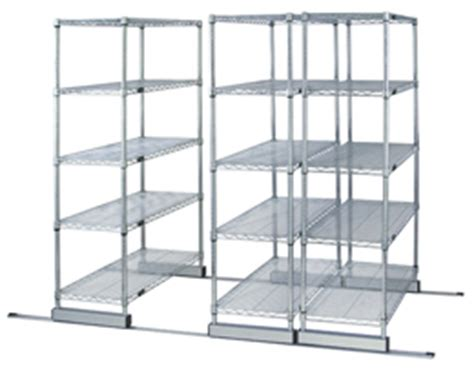 Sliding Shelf System by Wire Shelving High Density Sliding Track System
