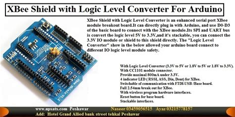 Xbee Shield With Logic Level Converter 1 xbee shield with logic level converter for arduino