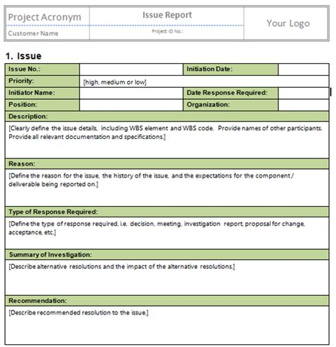 it issue report template manage stakeholder engagement templates project