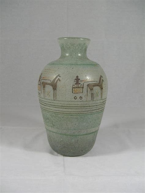 Handmade Vases - large antique handmade painted glass vase