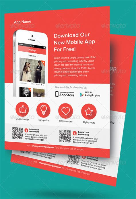 design flyer app 30 effective web mobile apps flyer psd templates web