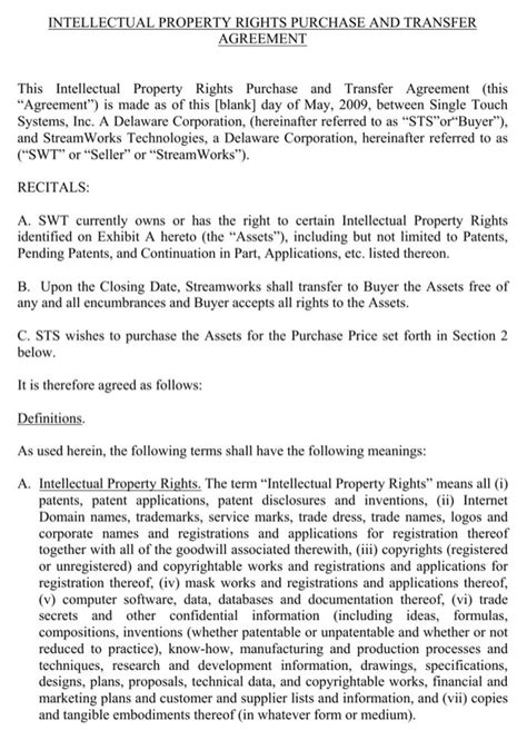 Download Intellectual Property Rights Purchase And Transfer Agreement For Free Page 2 Property Transfer Agreement Template