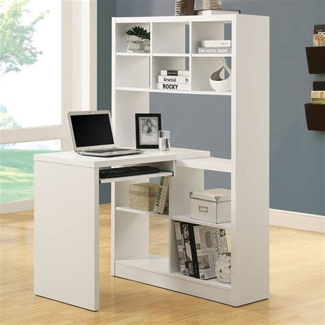 Computer Desk With Bookcase Shop Monarch Specialties Contemporary White Computer Desk At Lowes