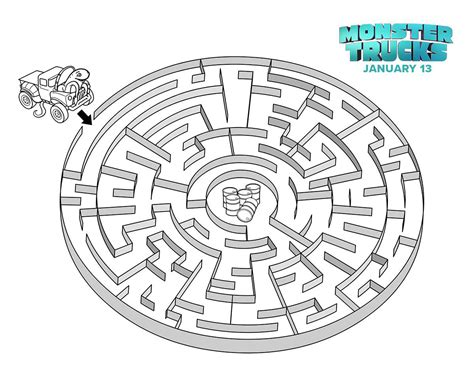 printable fire truck maze monster trucks movie printable coloring and activity sheets