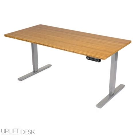 uplift stand up desk with 1 thick bamboo top