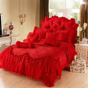 Down Comforter Bed Set Red Girls Lace Tulle Ruffle Flowers Jacquard Full Queen