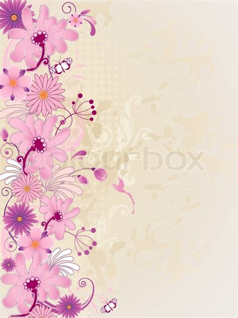 vintage style floral background with pink blooms royalty vector retro floral background with pink flowers stock
