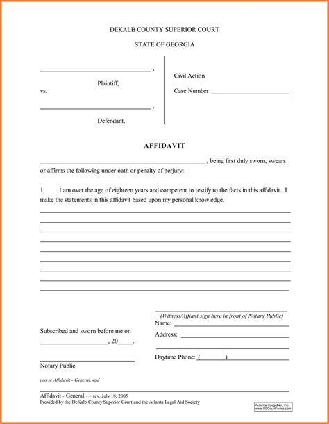 affidavit template free sop proposal