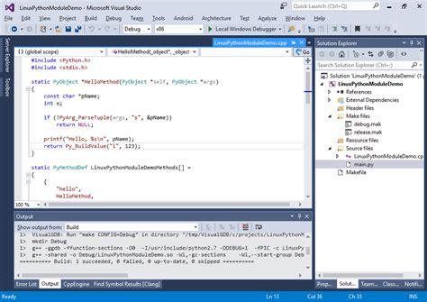 tutorial python visual studio developing linux c python modules with visual studio