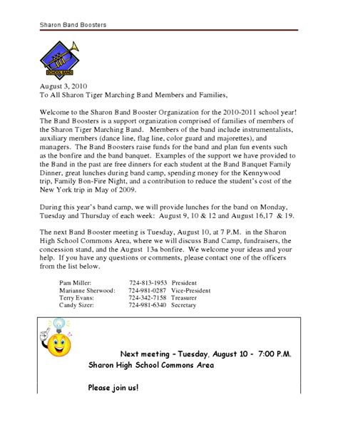 Parent Welcome Letter Middle School 2010 Band Boosters Welcome Letter 171 Tiger Band News Notes