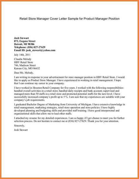 Letter Of Intent Sle For Manager Position Product Manager Cover Letter Sop