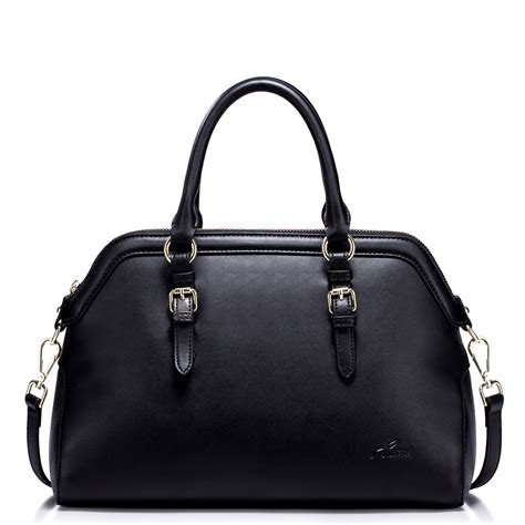 Cowhide Leather Handbags - nucelle cowhide leather handbag black